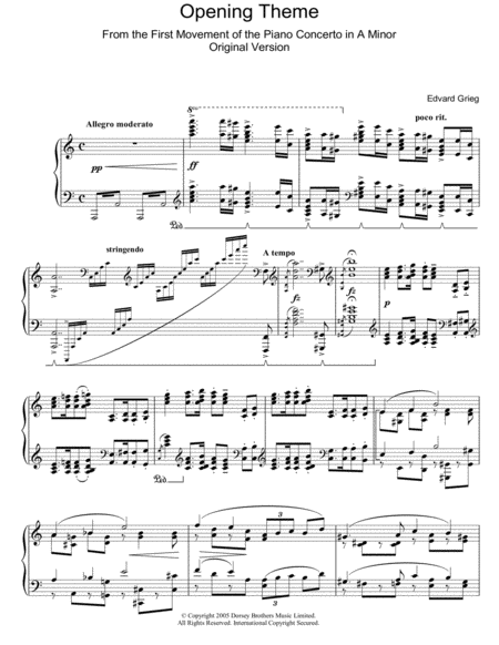 Opening Theme from Piano Concerto in A Minor