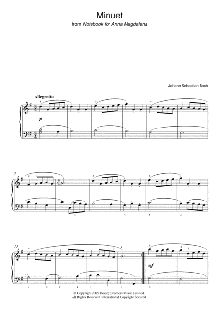 Minuet in G Major (from The Anna Magdalena Notebook)