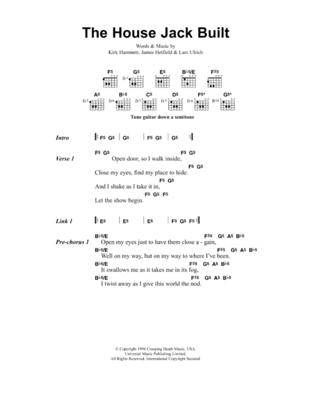 Download the house jack built sheet music by metallica for Jack house music