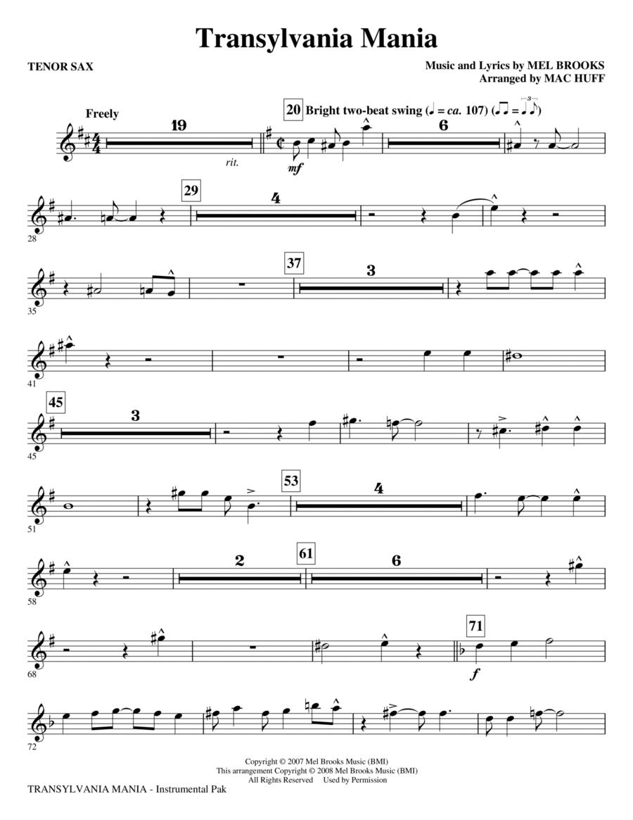 Transylvania Mania (from Young Frankenstein) - Tenor Sax