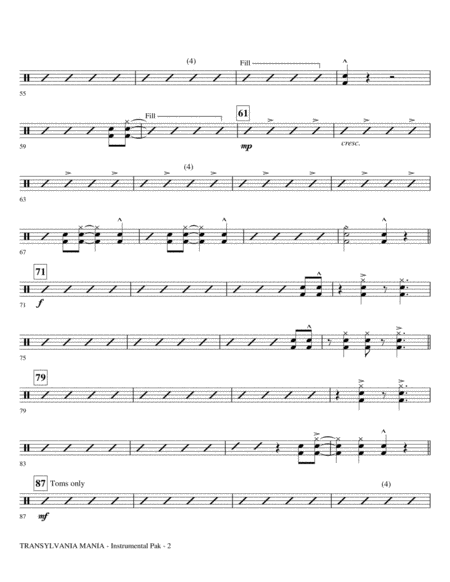 Transylvania Mania (from Young Frankenstein) - Drums