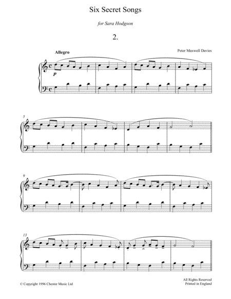 Six Secret Songs, No.2, Allegro
