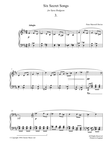 Six Secret Songs, No.3, Adagio
