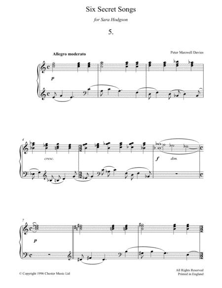 Six Secret Songs, No.5, Allegro Moderato