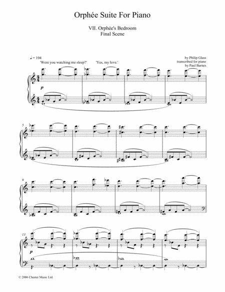 Orphee Suite For Piano, VII. Orphee's Bedroom Final Scene