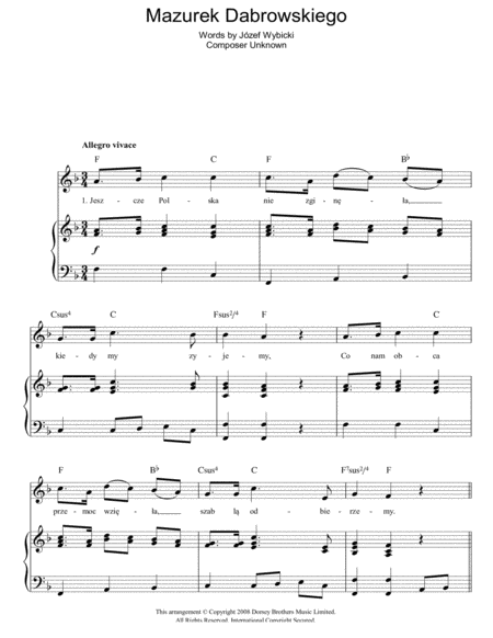 Mazurek Dabrowskiego (Polish National Anthem)