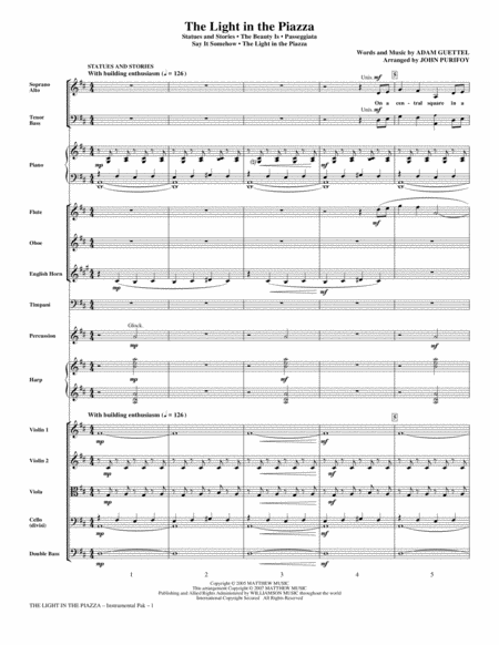 The Light In The Piazza (Choral Highlights) - Full Score