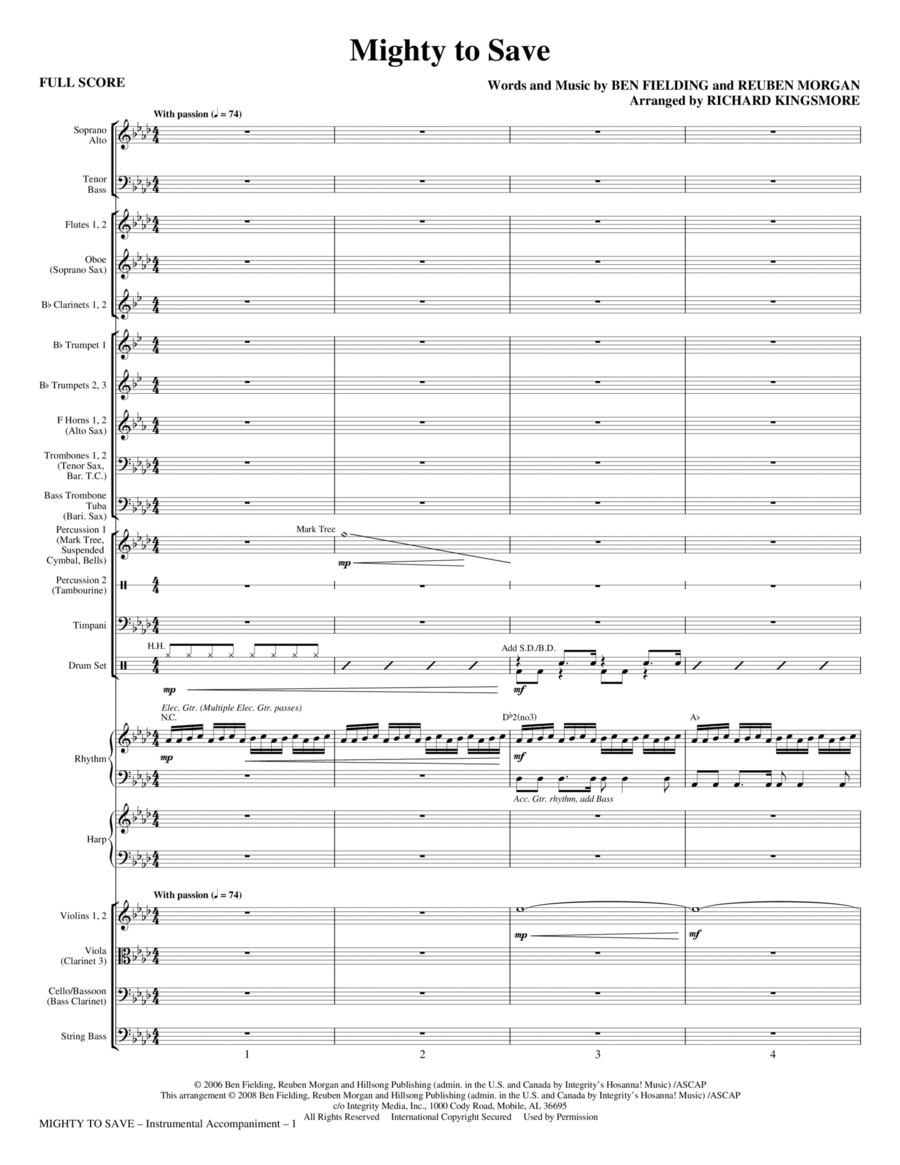 Mighty To Save - Full Score