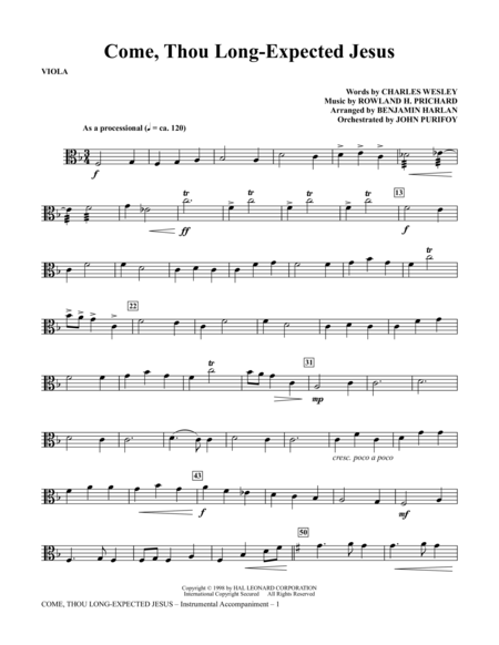 Come, Thou Long-Expected Jesus - Viola