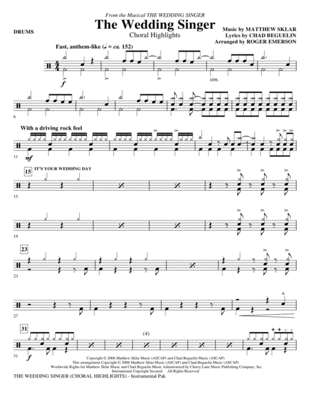 The Wedding Singer (Choral Highlights) - Drums