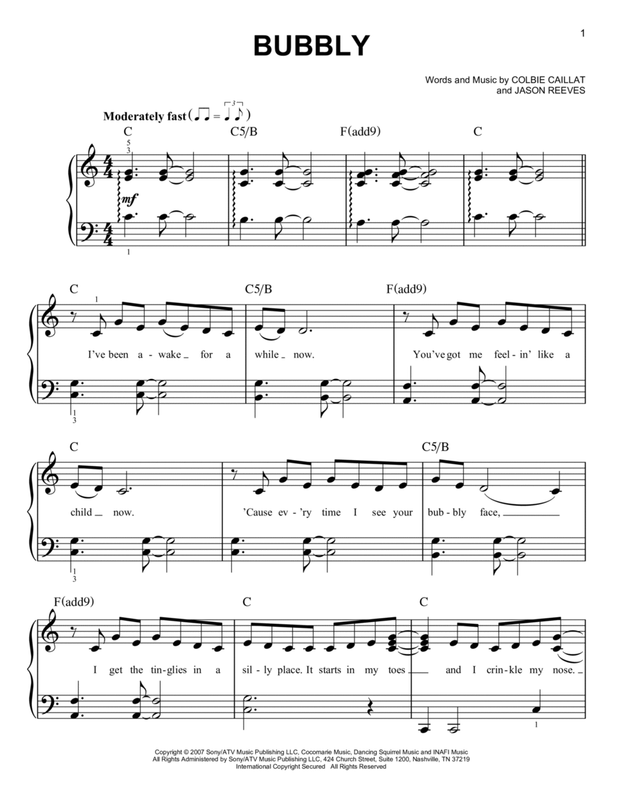 Download Bubbly Sheet Music By Colbie Caillat - Sheet Music Plus