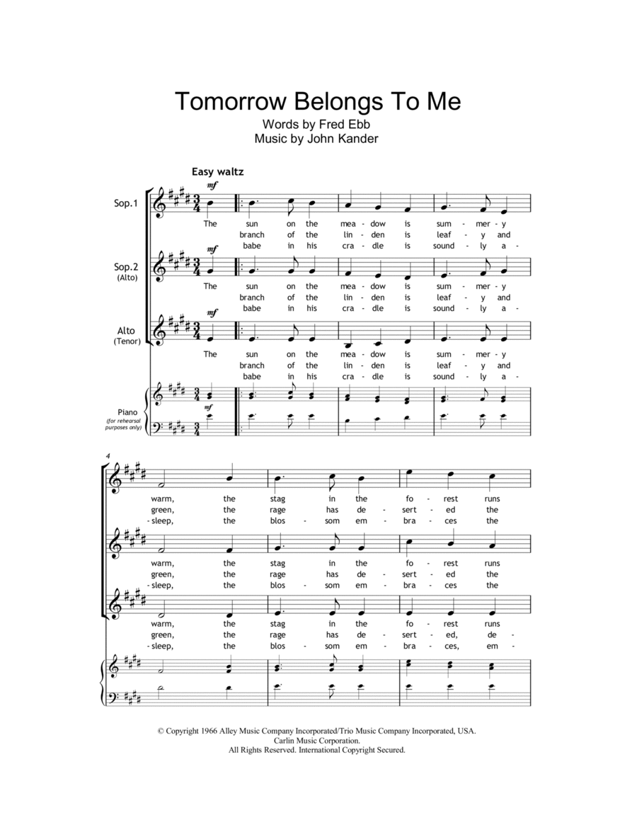 Tomorrow Belongs To Me (from Cabaret)