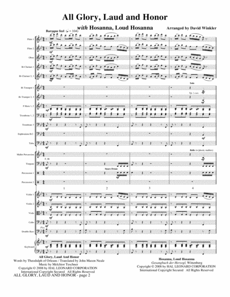 All Glory, Laud, And Honor (with Hosanna, Loud Hosanna) - Full Score