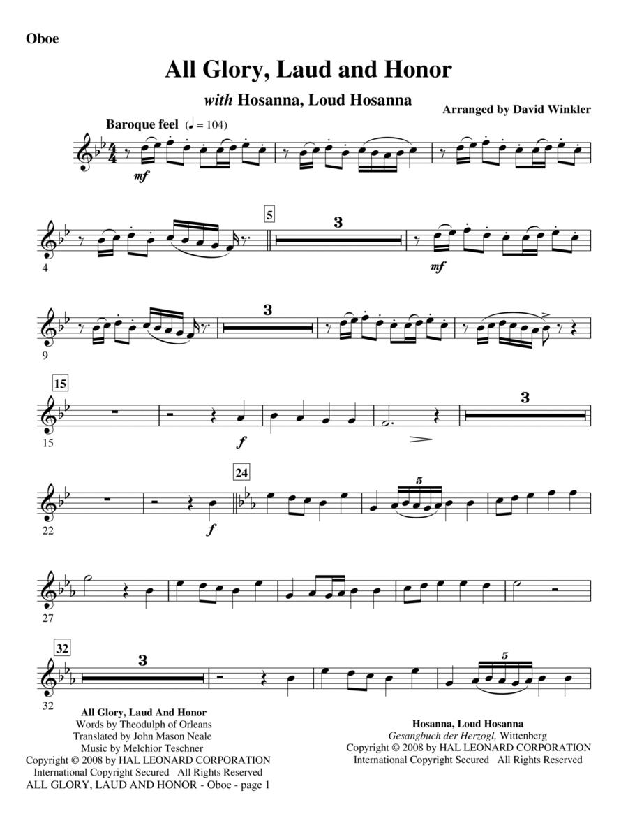 All Glory, Laud, And Honor (with Hosanna, Loud Hosanna) - Oboe