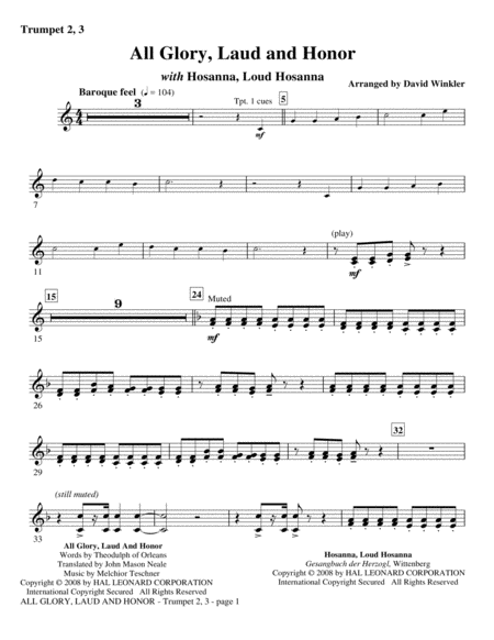 All Glory, Laud, And Honor (with Hosanna, Loud Hosanna) - Bb Trumpet 2,3