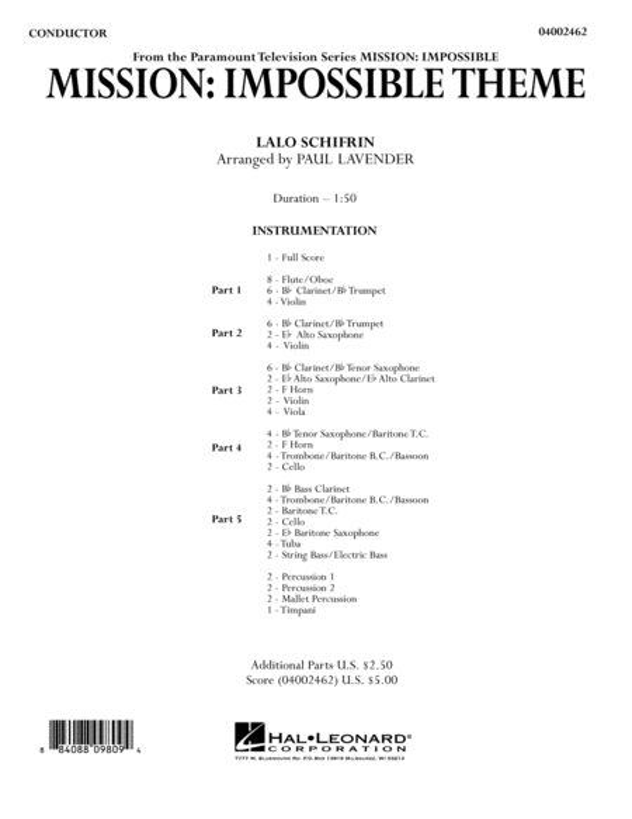 Mission: Impossible Theme - Conductor Score (Full Score)