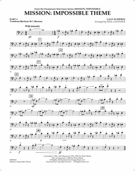 Mission: Impossible Theme - Pt.4 - Trombone/Bar. B.C./Bsn.