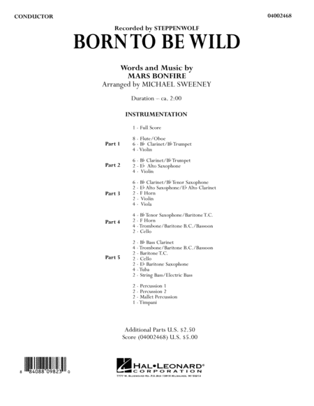 Born to Be Wild - Conductor Score (Full Score)