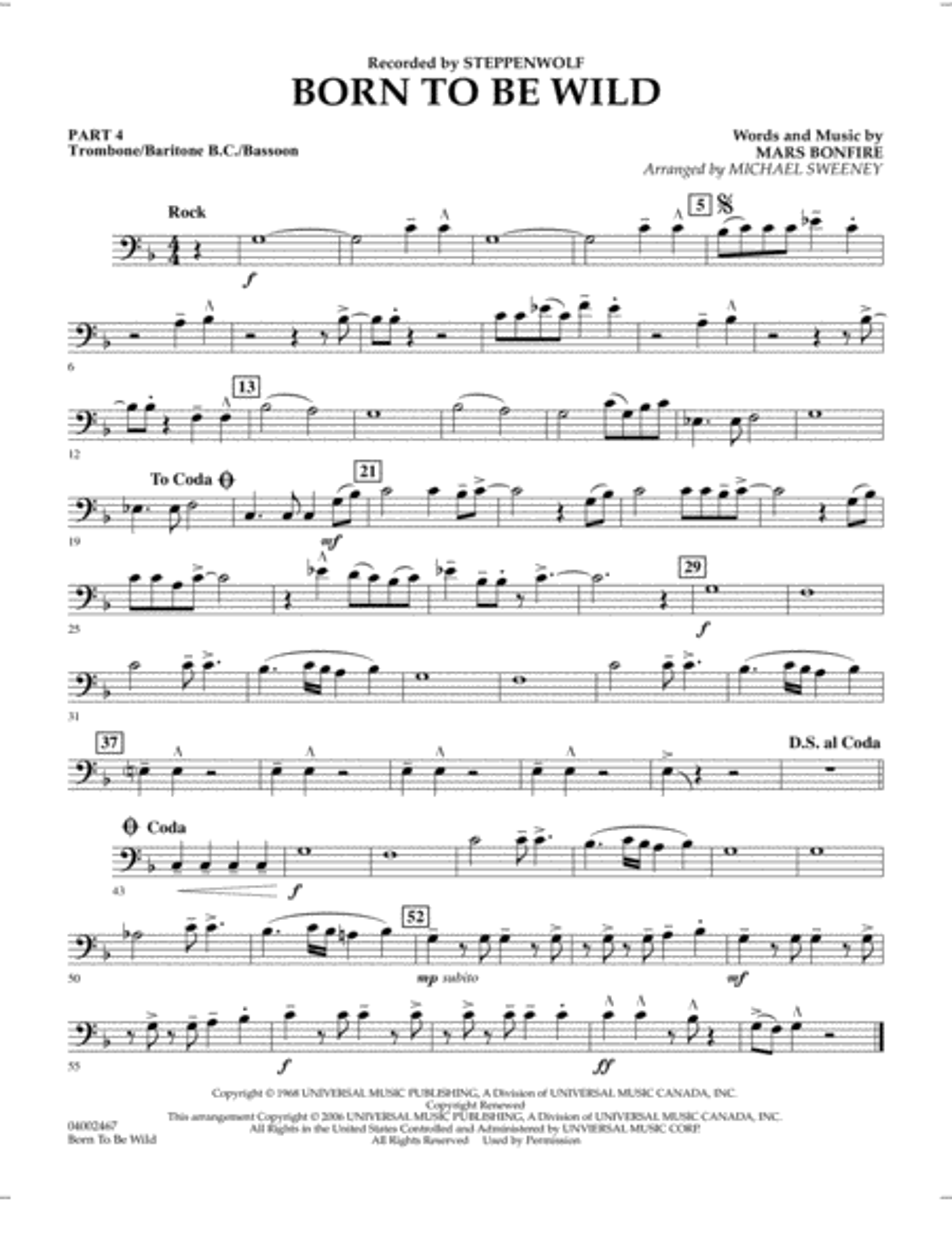Born to Be Wild - Pt.4 - Trombone/Bar. B.C./Bsn.