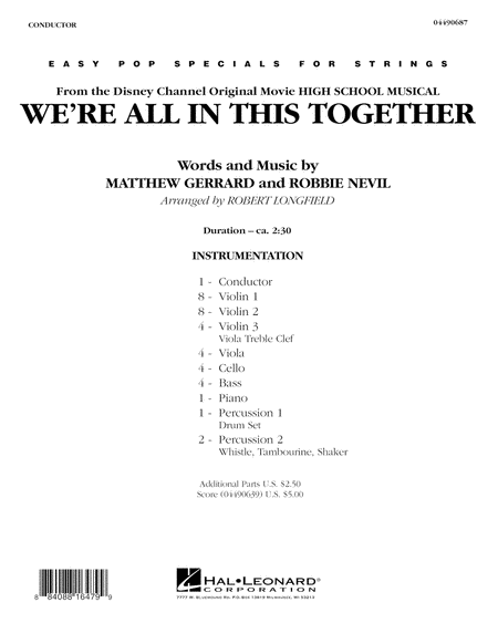 We're All in This Together (from High School Musical) - Full Score