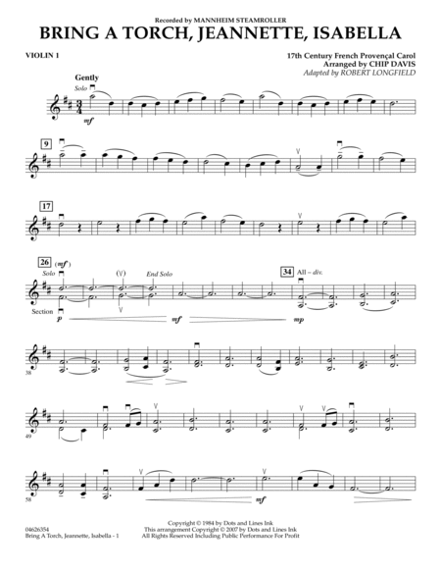 Bring a Torch, Jeannette, Isabella - Violin 1