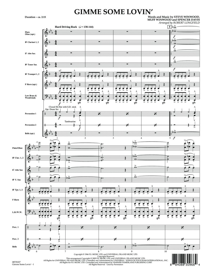 Gimme Some Lovin' - Full Score