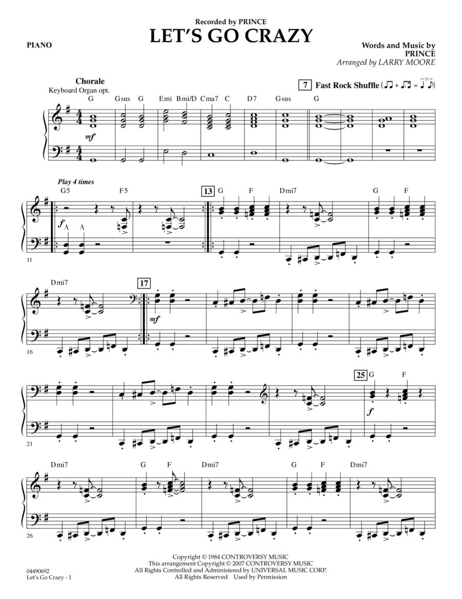 Let's Go Crazy - Piano