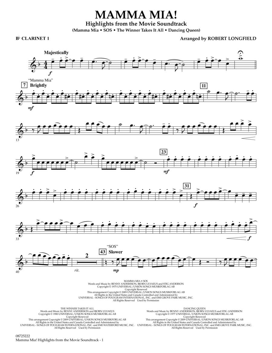Mamma Mia! - Highlights from the Movie Soundtrack - Bb Clarinet 1