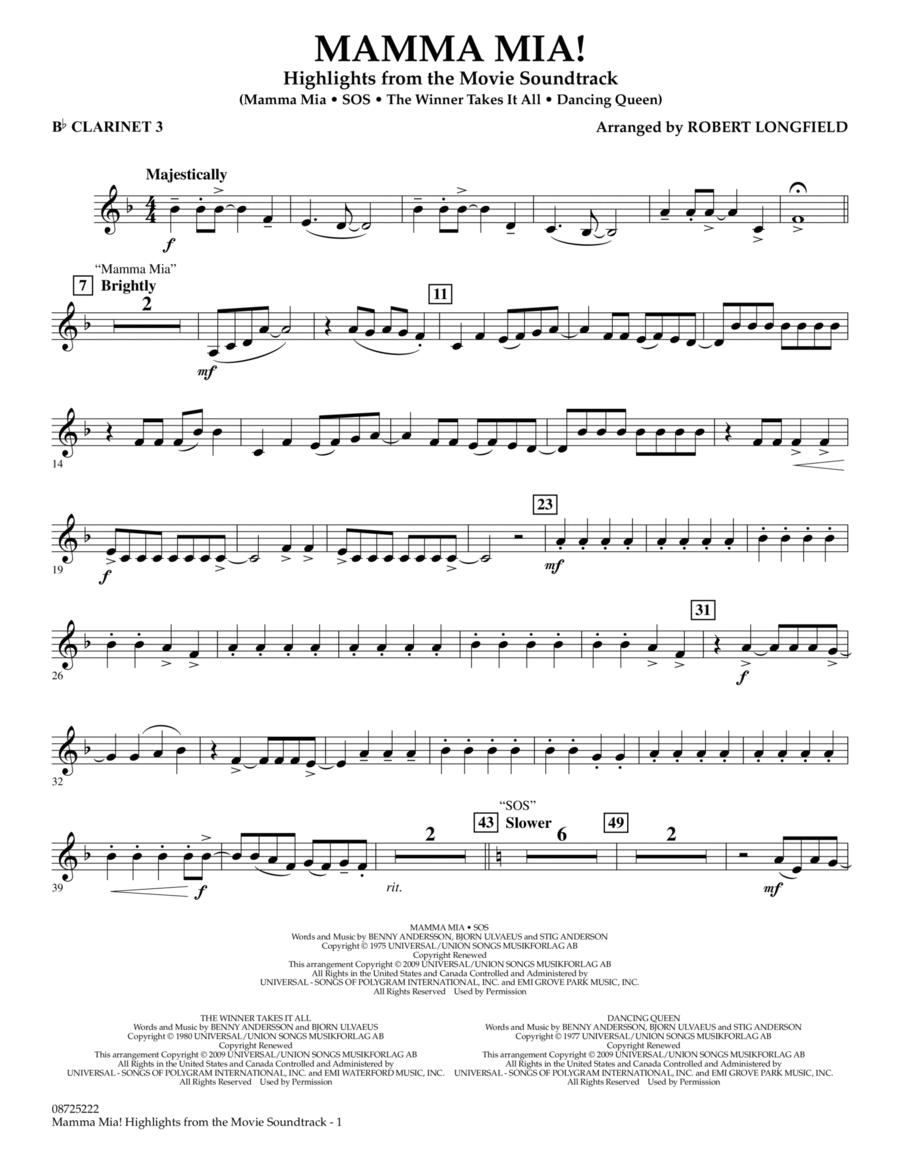 Mamma Mia! - Highlights from the Movie Soundtrack - Bb Clarinet 3