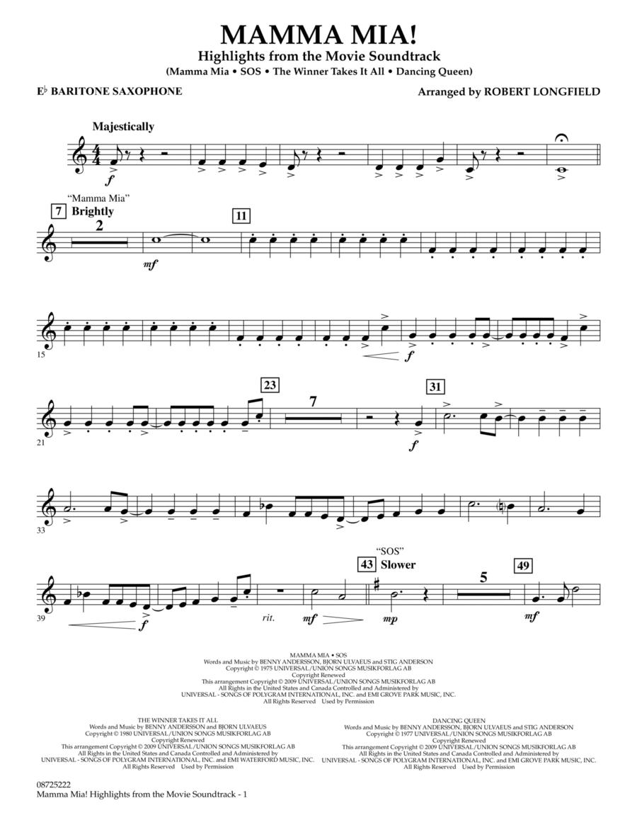 Mamma Mia! - Highlights from the Movie Soundtrack - Eb Baritone Saxophone
