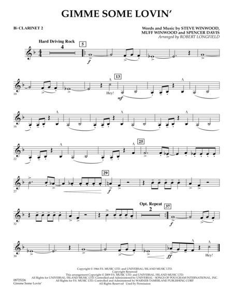 Gimme Some Lovin' - Bb Clarinet 2