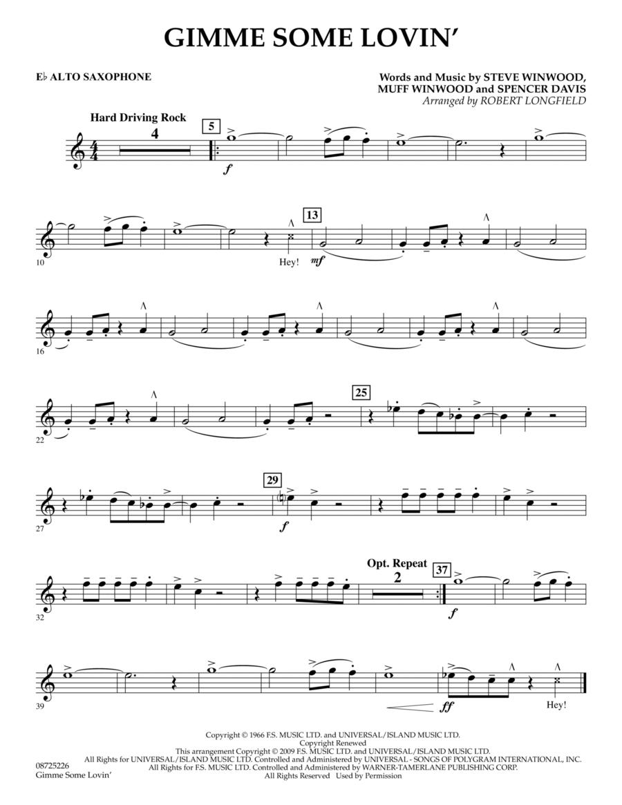 Gimme Some Lovin' - Eb Alto Saxophone