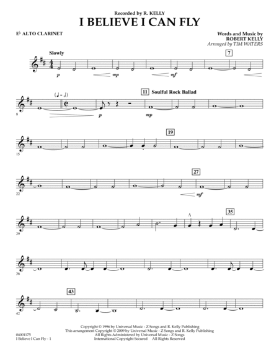 I Believe I Can Fly - Eb Alto Clarinet