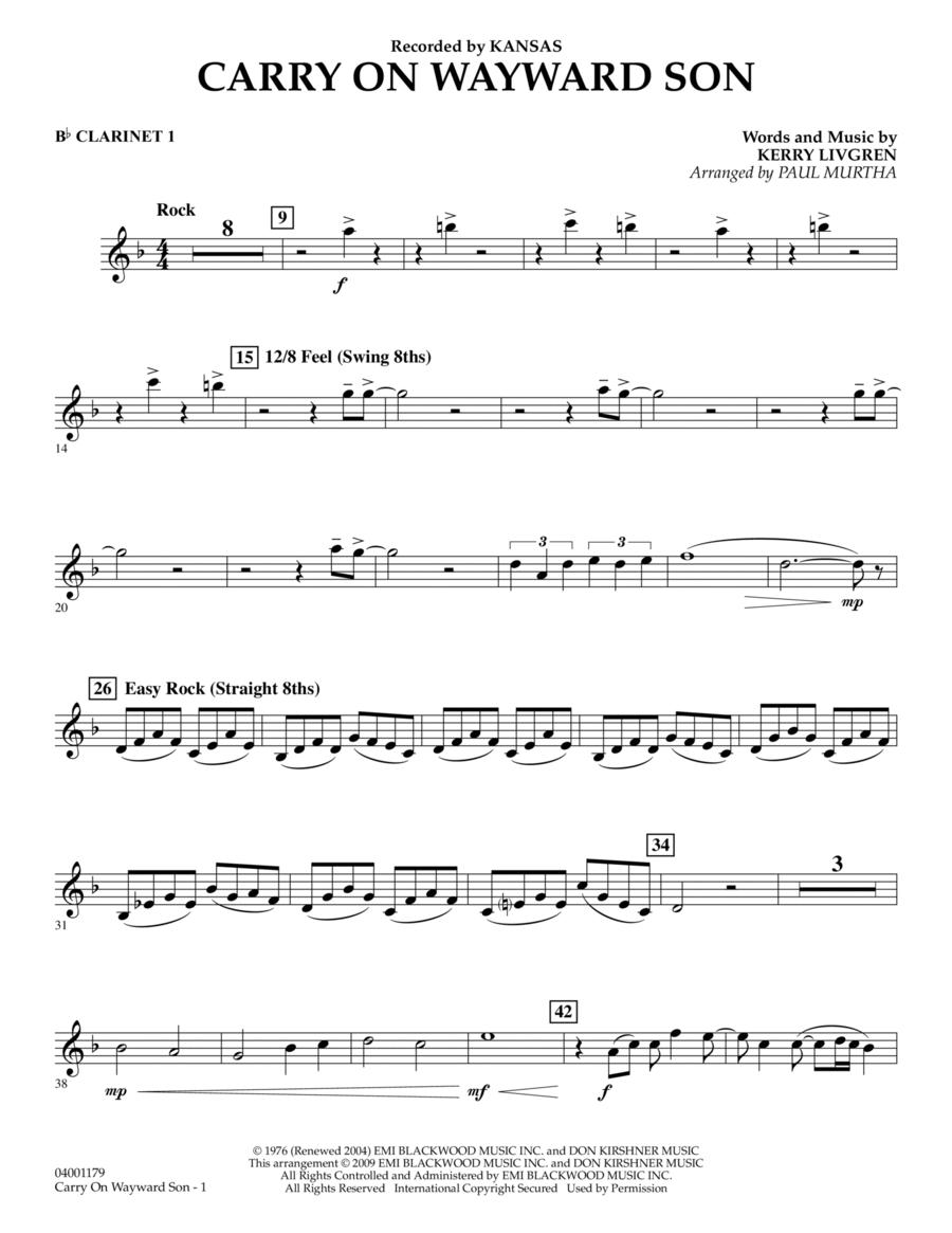 Carry On Wayward Son - Bb Clarinet 1