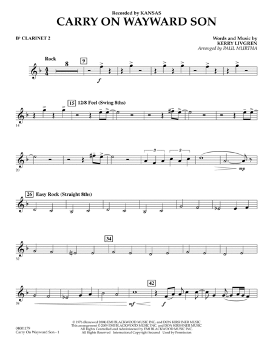 Carry On Wayward Son - Bb Clarinet 2