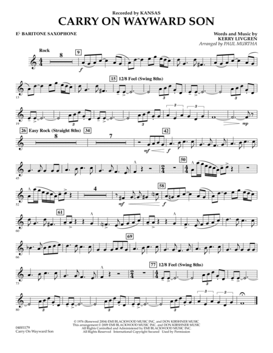 Carry On Wayward Son - Eb Baritone Saxophone