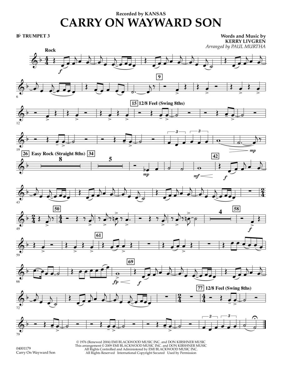 Carry On Wayward Son - Bb Trumpet 3
