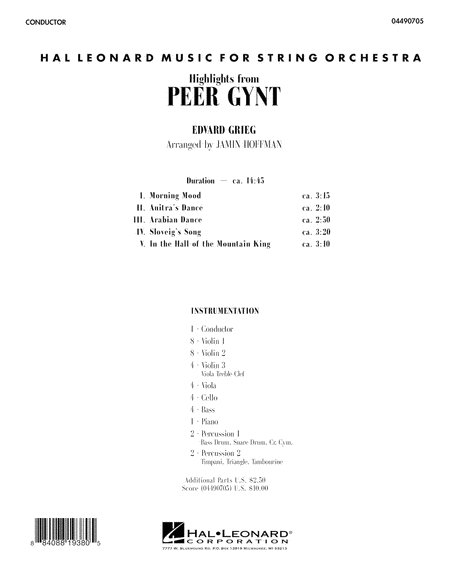 Highlights from Peer Gynt - Full Score