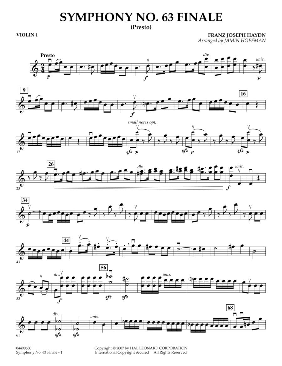 Symphony No. 63 Finale (Presto) - Violin 1