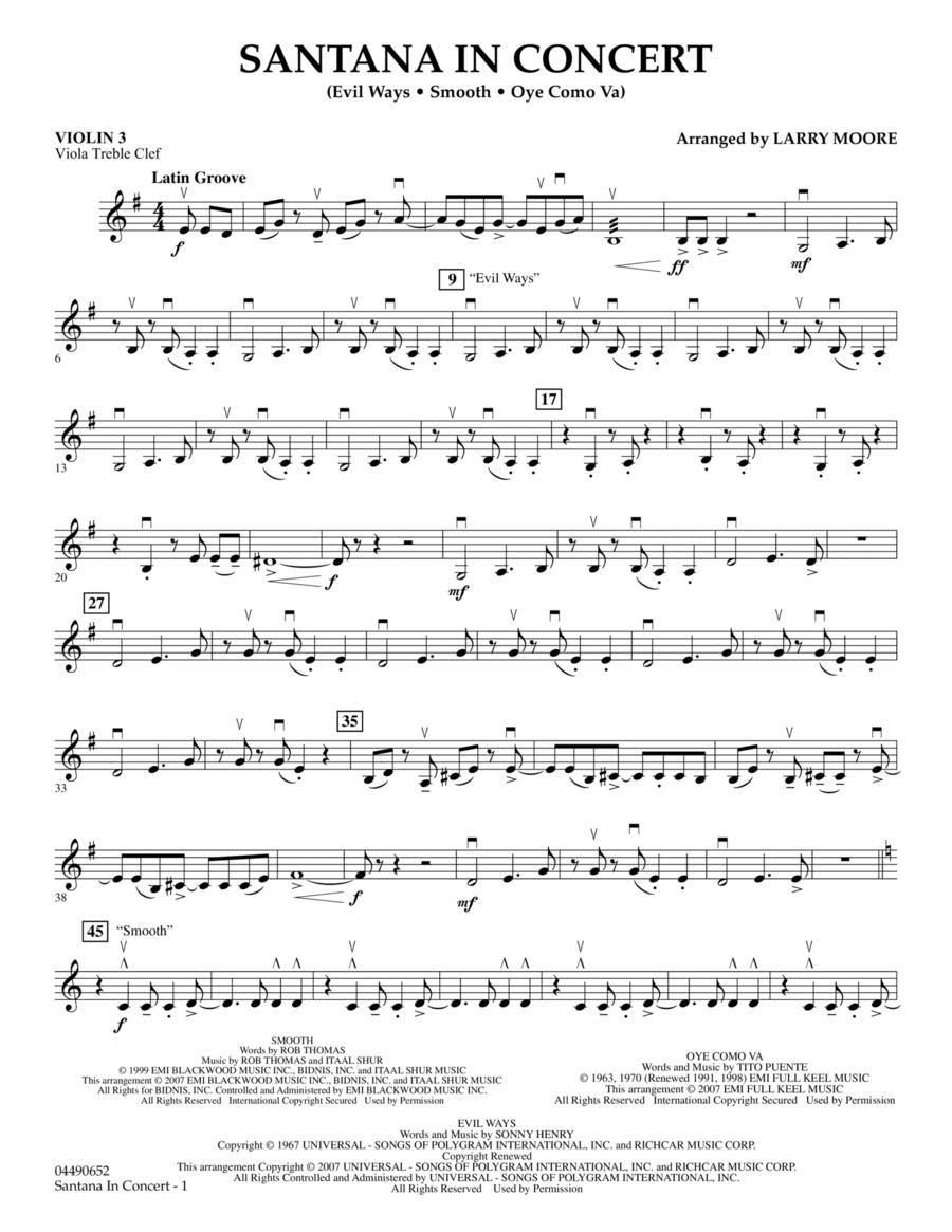 Santana in Concert - Violin 3 (Viola Treble Clef)