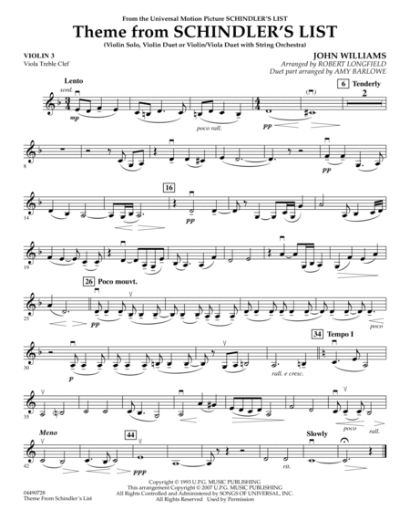 Theme from Schindler's List - Violin 3 (Viola Treble Clef)