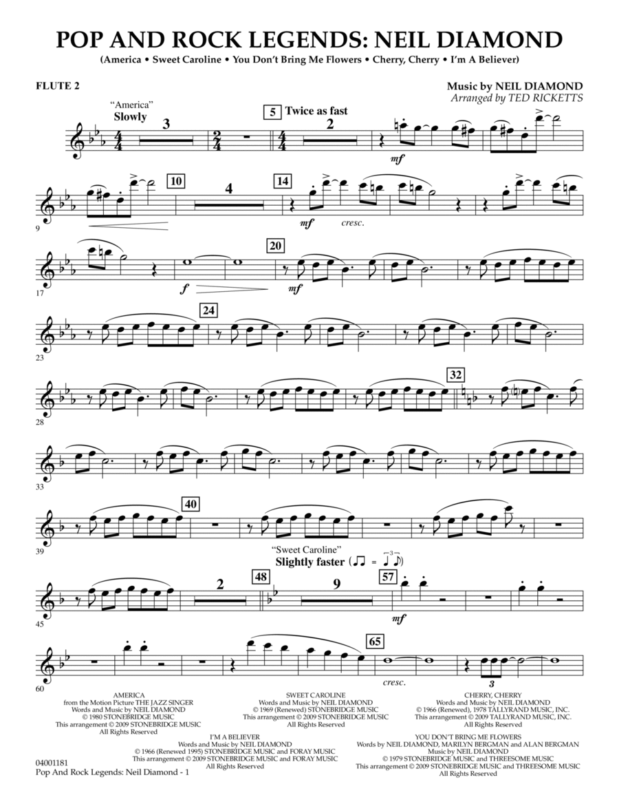 Pop and Rock Legends - Neil Diamond - Flute 2
