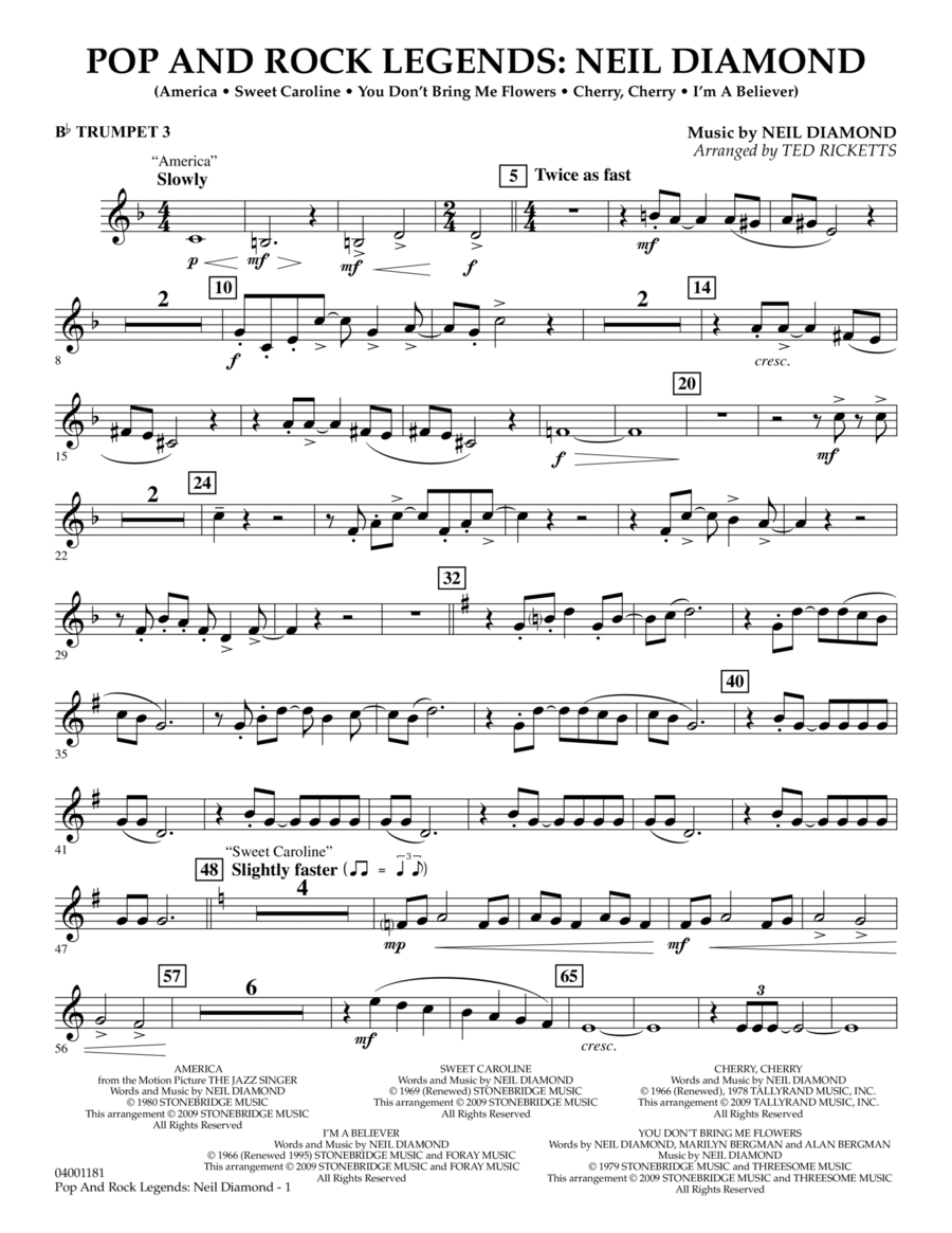 Pop and Rock Legends - Neil Diamond - Bb Trumpet 3