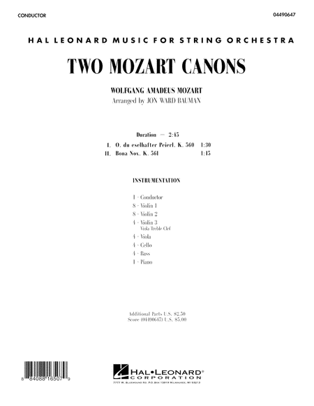Two Mozart Canons - Full Score