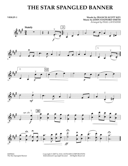 Star Spangled Banner - Violin 1