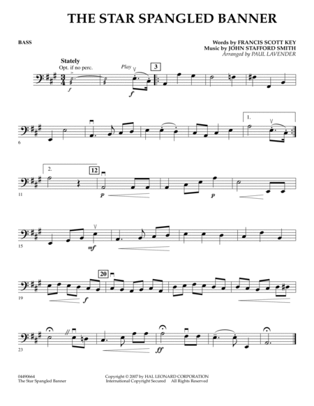 Star Spangled Banner - Bass
