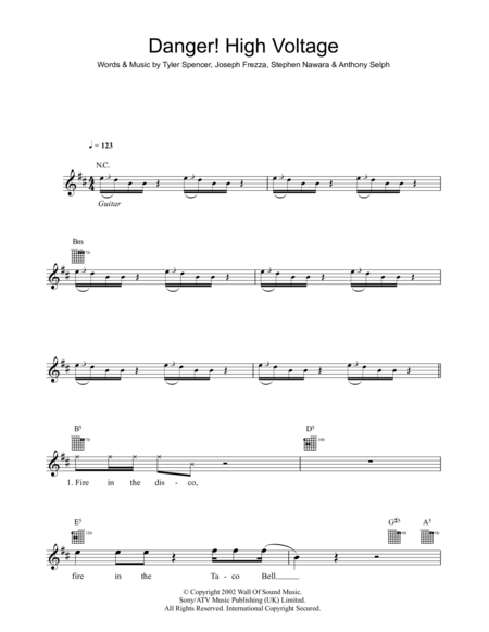 High Voltage Keyboard : Download danger high voltage sheet music by electric six