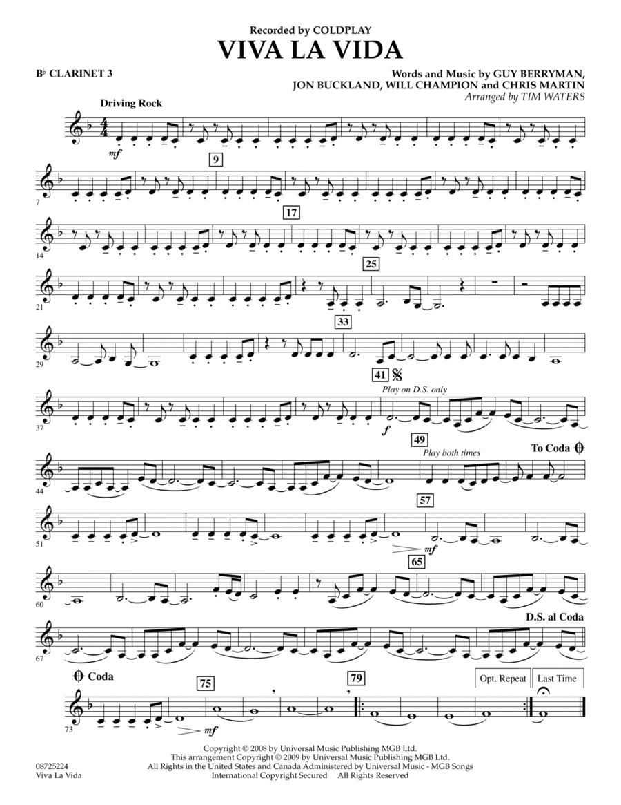 Viva La Vida - Bb Clarinet 3