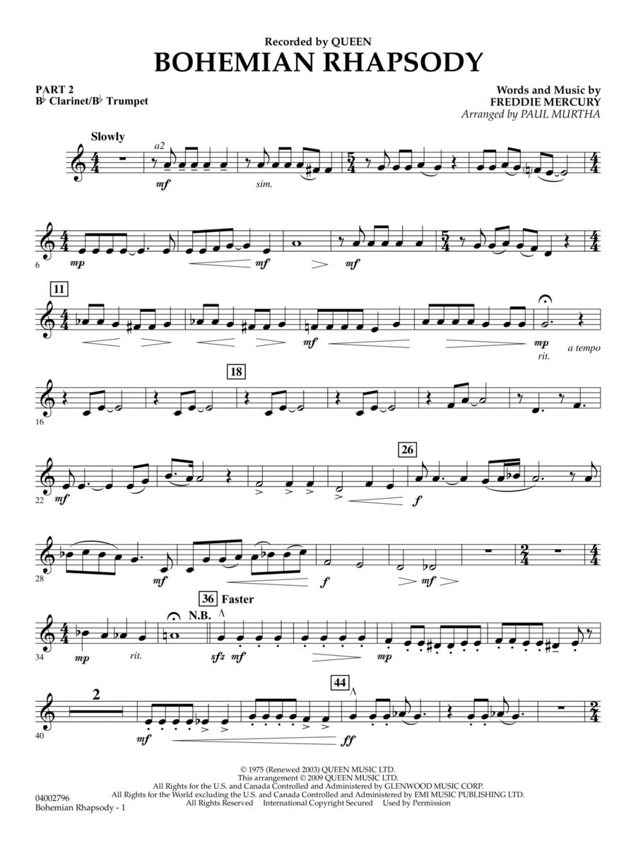 Bohemian Rhapsody - Pt.2 - Bb Clarinet/Bb Trumpet