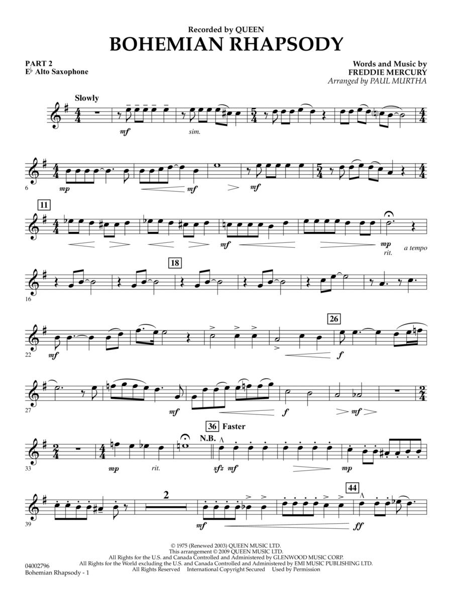 Bohemian Rhapsody - Pt.2 - Eb Alto Saxophone